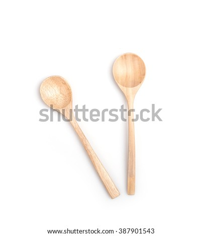 Close up wooden spoon isolated on white background