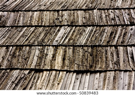 Close Up Wooden Tile Background, Shingles - stock photo
