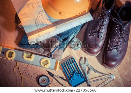Close up workwear clothing and tool