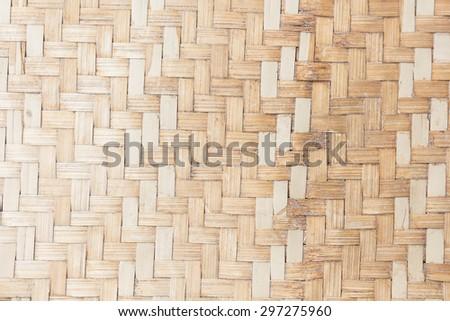 close up woven bamboo pattern. - stock photo