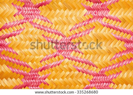 Close up woven bamboo pattern handbags and basketry passing on the community indentity - stock photo