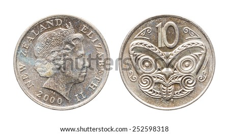 Close up year 2000 New Zealand 10 Cents coin isolated on white - stock photo
