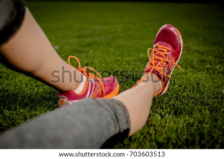 Close up young girl shoes, training summer time concept
