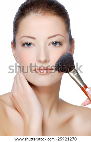 Close-up young woman face with natural beauty make-up - stock photo