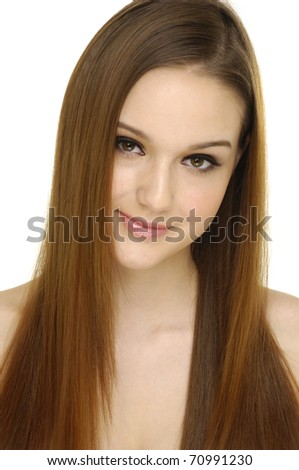 Close up young woman with luxuriant healthy long hair - stock photo