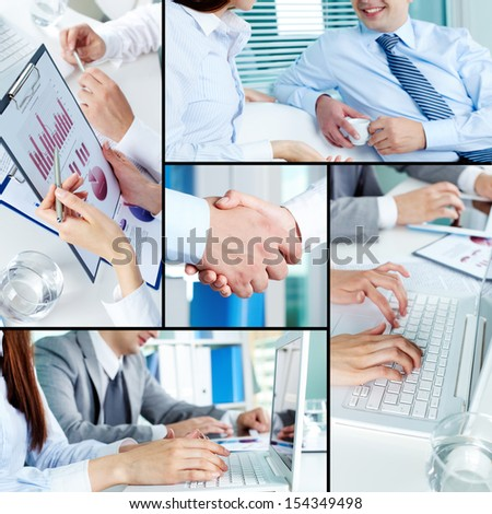 Close-ups of business partners working with laptop and papers - stock photo