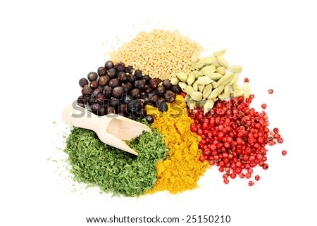close-ups of different aromatic spices - food and drink