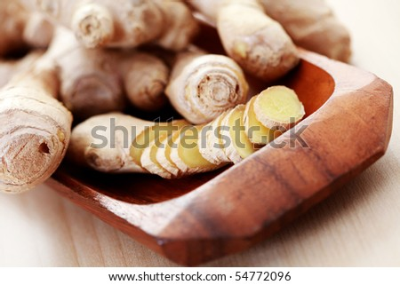close-ups of fresh ginger root - spices