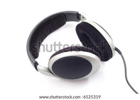 close-ups of headphones isolated on white