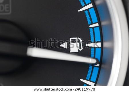Close ups shot of fuel gauge - stock photo