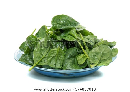 Close view of a bunch of fresh spinach on a dish, isolated on a white background.