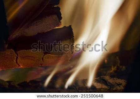 Close view of a burning wood and a cinder - stock photo