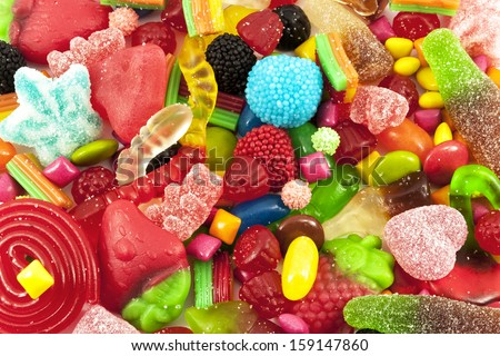 Close view of a collection of multicolored sweets - stock photo