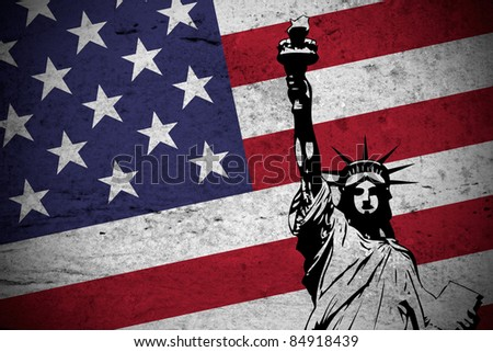 Close view of a grunge illustration of  the american flag with the Statue of Liberty printed. - stock photo