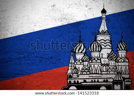 Close view of a grunge illustration of the Russian flag with the Moscow Kremlin printed. - stock photo