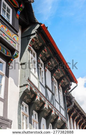 Close view of a house in the Old town of Gorlar, Lower Saxony, Germany. Old town of Goslar is a UNESCO World Heritage - stock photo