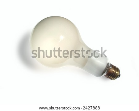 Close view of a 500W Photoflood lamp isolated on white background.