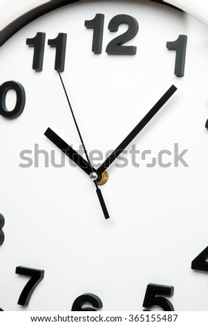 Close view of a white kitchen clock with black numbers.