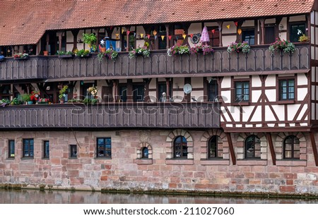 Close view of an old typical timbered house in Nuremberg in Bavaria - stock photo
