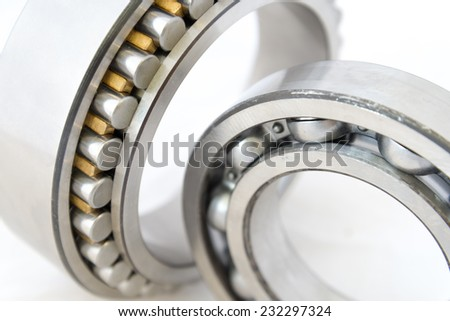 Close view of bearings on white background. - stock photo