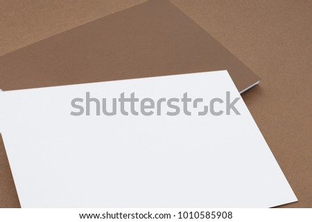Close view of blank business cards isolated on white. 3d illustration to showcase your presentation.
