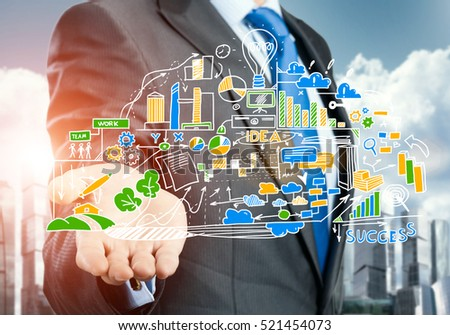 Close view of businessman drawing strategy plan on screen