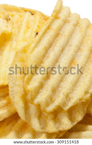 Close view of chips potato on the white background.