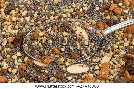 Close view of dry breakfast cereal consisting of chia seeds, nuts, and dried fruit with a spoon. - stock photo