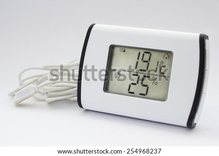 Close view of electronic thermometer hygrometer in a white background