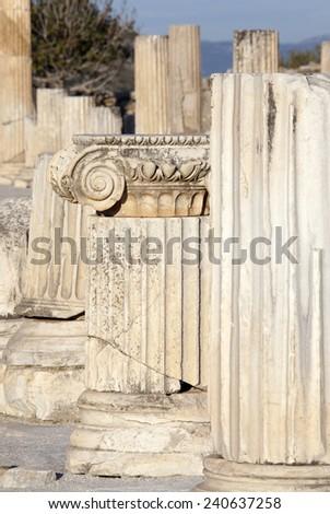 Close view of Ephesus ancient city columns (Turkey). - stock photo