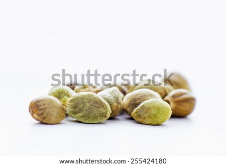 Close view of hemp seeds in a white background - stock photo