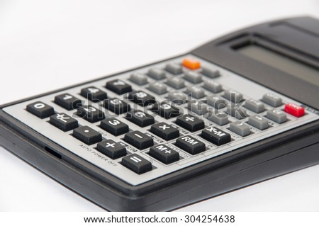 Close view of keypad on scientific calculator. - stock photo