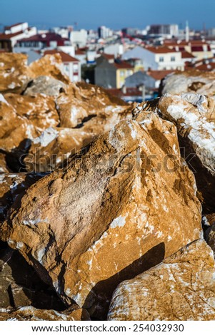 Close view of natural stones for exterior decoration - stock photo