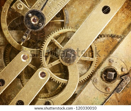 close view of old watch mechanism