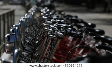 Close view of public bicycles in Barcelona, Catalonia, Spain,
