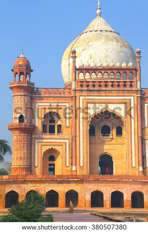 Close view of Safdarjung Tomb, New Delhi, India. Tomb was built in 1754 in the late Mughal Empire style.