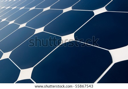 close view of solar panel characteristic design - stock photo