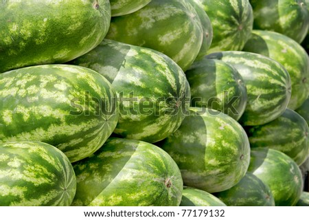Close view of stacked watermelon