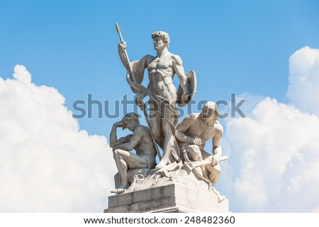 Close view of statue in front of Monumento nazionale a Vittorio Emanuele II, Rome, Italy - stock photo
