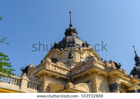 Close view of Szechenyi Medicinal Bath in Budapest, Hungary, Europe - stock photo