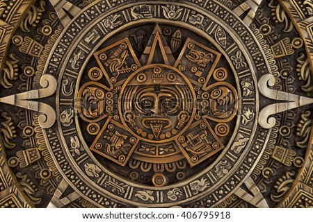Close view of the ancient Aztec calendar - stock photo