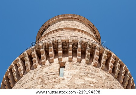 """Close view of the ancient tower of the fortress """"Saint Jean"""" of Marseille in South France - stock photo"""