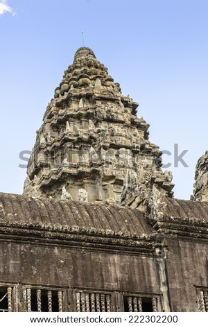 Close view of the Angkor Wat, Cambodia, the largest religious monument in the world, UNESCO World Heritage