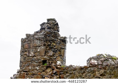 Close view of the Dunluce Castle, a medieval castle in Northern Ireland.