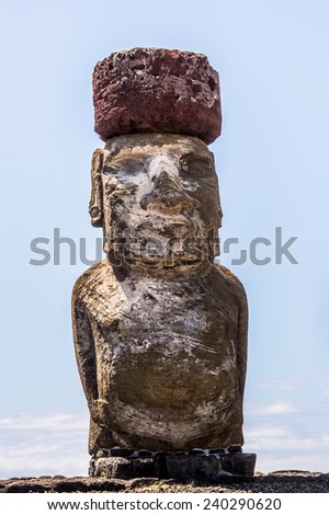 Close view of the Moais in Ahu Tongariki, Easter island, Chile. UNESCO World Heritge