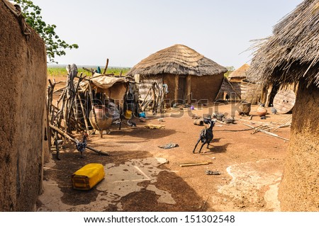 Close view of the poor house for living of the people of Ghana, Africa - stock photo