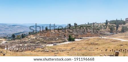 Close view of the ruins of the Ancient Roman city of Gerasa of Antiquity , modern Jerash, Jordan - stock photo