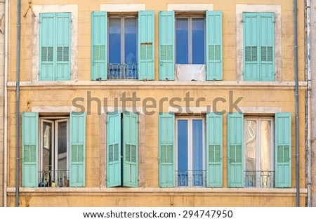 Close view of the typical old houses in Marseille in South France - stock photo