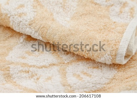 close view of towel on white background
