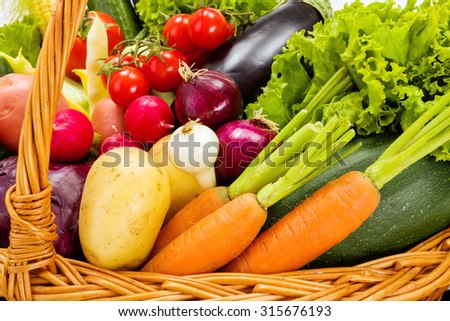 Close view of various fresh summer vegetables
